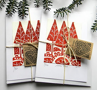 Three trees hand printed cards by @Mangle Prints from mangeprints.blogspot.com