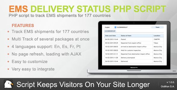 EMS Delivery Status - PHP Script . EMS has features such as High Resolution: Yes, Compatible Browsers: IE6, IE7, IE8, IE9, IE10, IE11, Firefox, Safari, Opera, Chrome, Edge, Software Version: PHP 5.x
