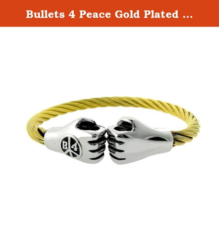 """Bullets 4 Peace Gold Plated Bracelet with Twisted Wire Bangle with fist bump closure. This unique Bullets 4 Peace bracelet made of stainless steel with gold color plating features two fists touching each-other. It is the friendly new age """"warriors"""" greeting and symbolizes the protection of the weak ones by the strong ones. An obligation and code of honor of every true warrior!."""