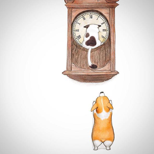 #painting #drawing #illustration #artwork #dog #cat #그림 #일러스트 #강아지 #고양이 #인스타일러스트 #아트스타그램 #인스타드로잉 #꿀밤 #그림쟁이 #동물인스타그램 #낙서 #draw #드로잉  #art_gallery #図 #イラスト #図面 #犬 #猫 #Inu #neko