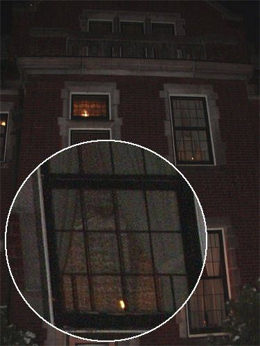 Taken outside of the Glensheen Mansion in Duluth, MN. In this photo looking out of the window on the upper right appears to look like a full apparition of an elderly lady, possibly the previous owner, Elizabeth Congdon. This is believed to be her bedroom and the room in which she was murdered.