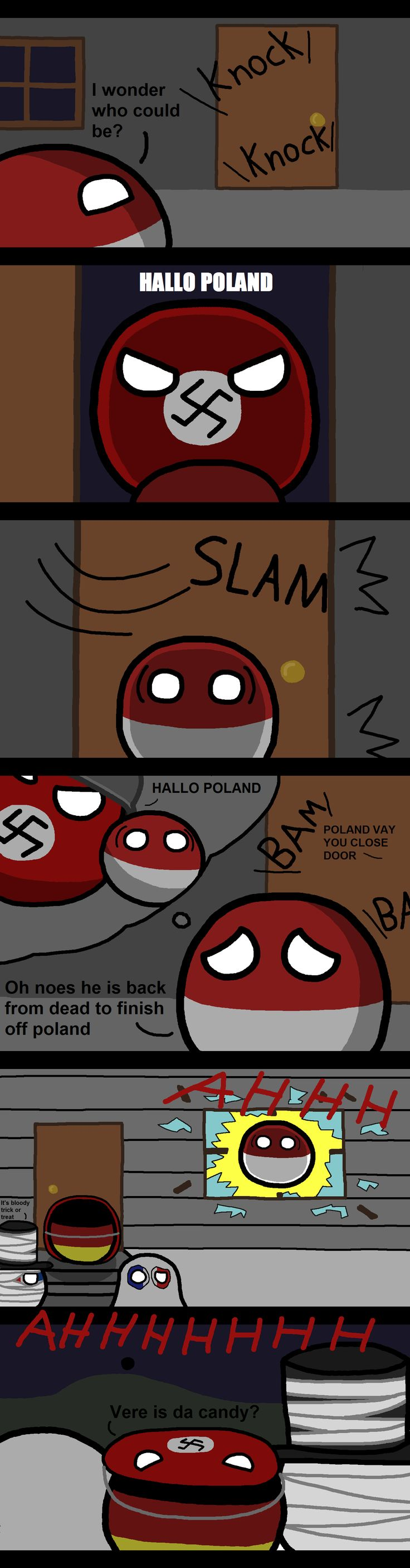 When Strangers come knocking ( Poland, Germany, UK, France ) by Burnttoaster10  #polandball #countryball