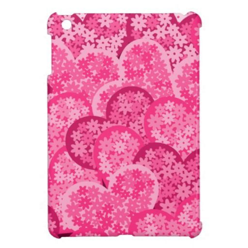 Cute floral hearts in pink iPad mini case