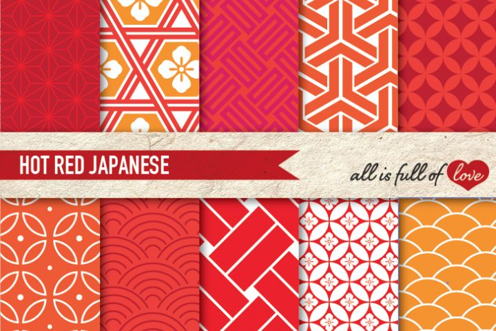 Japanese Backgrounds in Red and Orange Digital Graphics to Print from DesignBundles.net