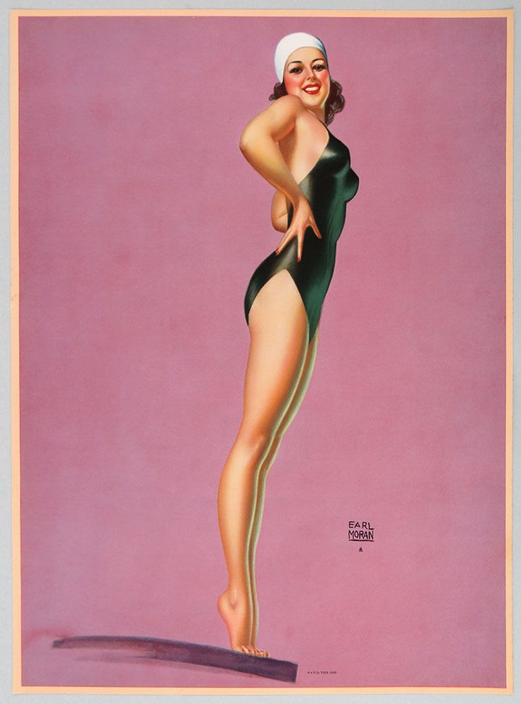 1940s Earl Moran Art Deco Streamlined Pin-Up Poster Watch This One Vintage Diver