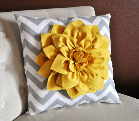 """Mellow Yellow Dahlia Gray Chevron Pillow ALL ITEMS ARE MADE TO ORDER PLEASE SEE SHOP FOR CURRENT CREATION TIME!!! Large Mellow Yellow Dahlia on Gray and White Zig Zag Pillow. 14 x14"""" larger sizes can"""
