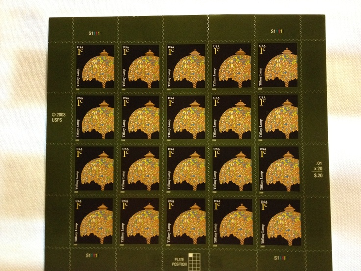 TIFFANY LAMP SHEET OF. (20)---- 1 cent stamps | MY STAMP ...