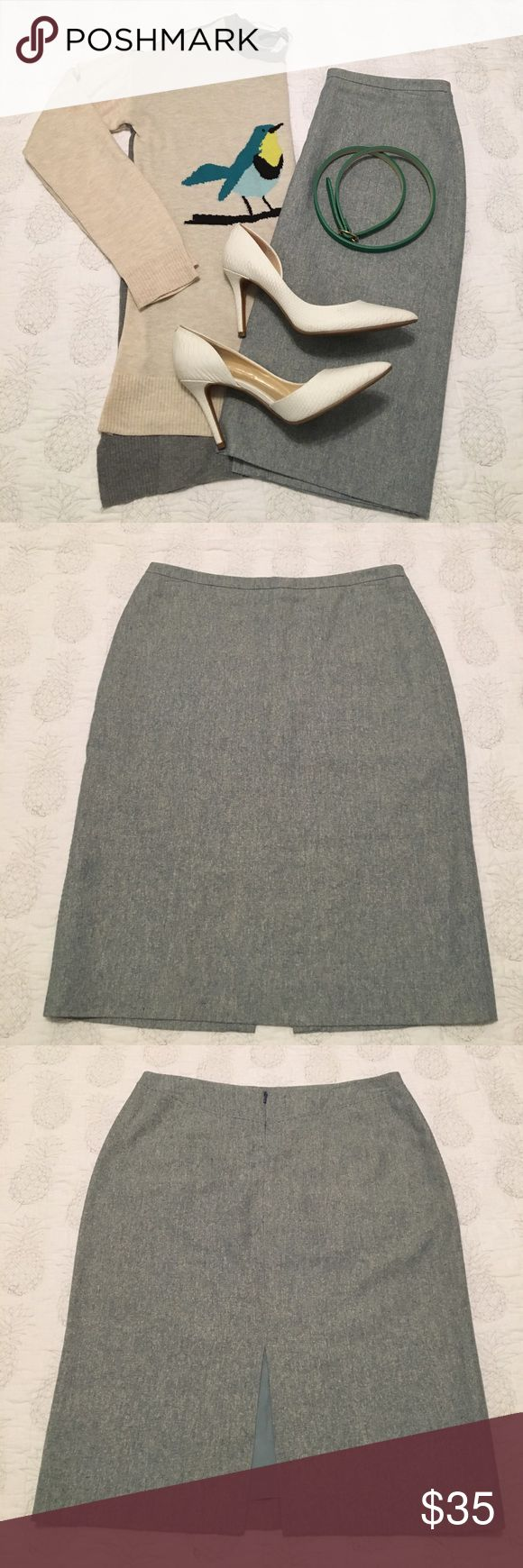 Banana Republic silk & linen pencil skirt This is a silk and linen pencil skirt from Banana Republic. It has delicate stitching detail on the back and down the sides to add a slight twist to your average work skirt.it is a blueish grey color with white threading throughout. It is a soft skirt that is fully lined with a sizable slit in the back where the seams have barely separated (pictured). This was a pregnancy favorite, but no longer fits. Pair it with a crisp white button down or a silk…