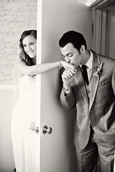 I love this! If you wanted to take a picture together before the wedding, but didn't want to see each other yet.