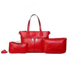 Ensemble de trois sacs cabas avec bandoulière amovibles pour femme rouge