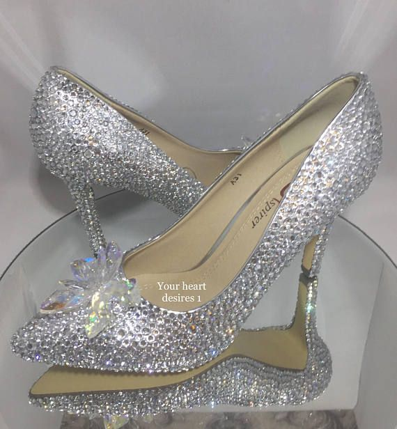 Swarovski Look Shoes Cinderella Wedding Heels Bridal Wedding Etsy Wedding Heels Cinderella Wedding Shoes Crystal Wedding Shoes
