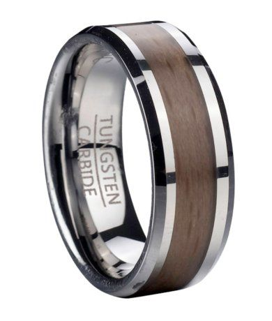 Tungsten Ring for Men with Red Beechwood and Beveled Edges   8mm