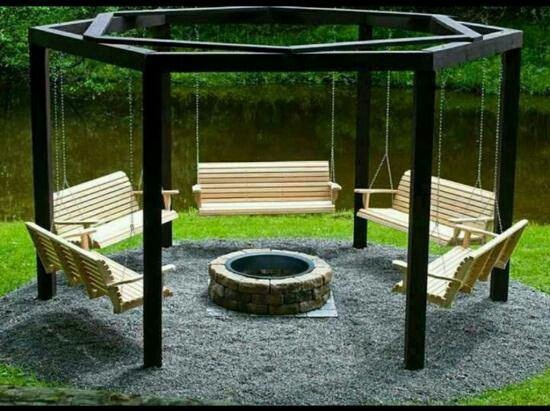 The best backyard, ever with my fire pit, benches and will have to get swing and place my logs in the gravel or cement.
