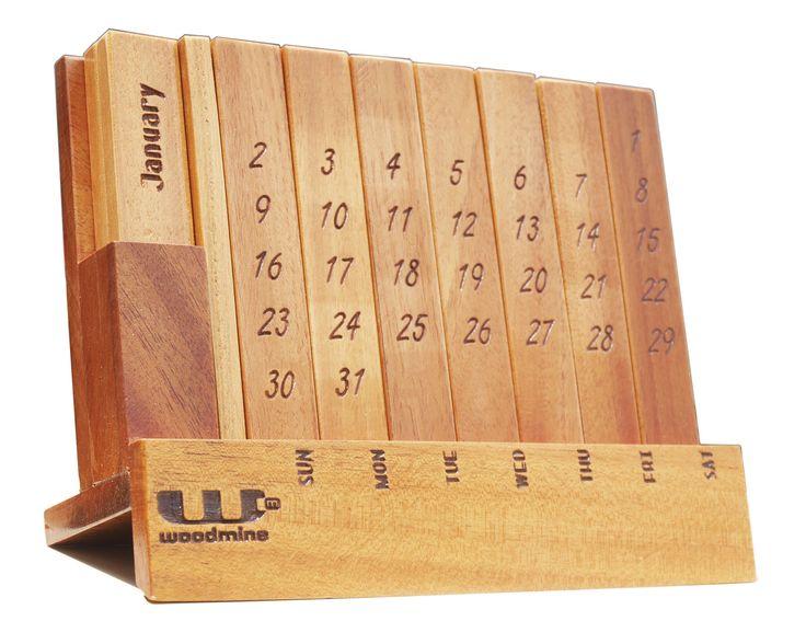 Perpetual Calendar Wood : Wooden perpetual calendar for office desk puzzle