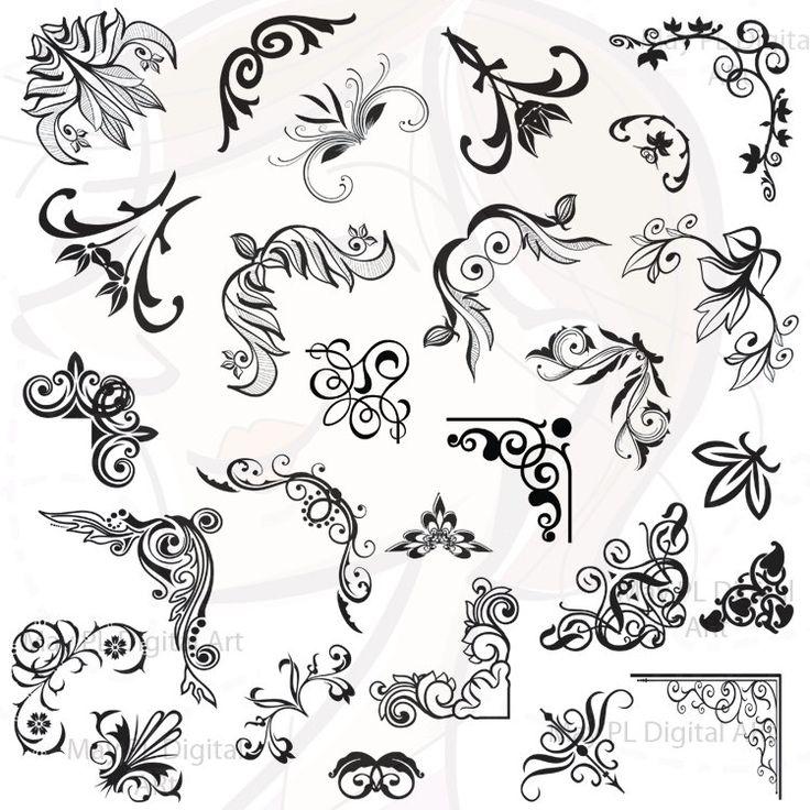 Digital Clip Art Clipart Border Corners Vintage Scrapbook Decorative Embellishment Classic Calligraphy png Digital Files 10195., via Etsy.