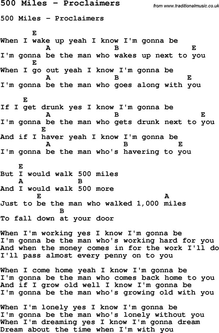 Song 500 miles by proclaimers with lyrics for vocal performance song 500 miles by proclaimers with lyrics for vocal performance and accompaniment chords for ukulele guitar banjo etc acoustic guitar pinterest 500 hexwebz Image collections