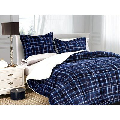 Mayna Luxury Plaid Sherpa Comforter Set