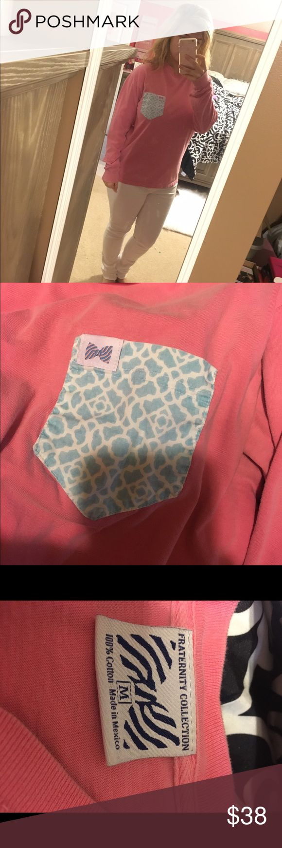 🌸MOVING SALE🌸 Fraternity Collection pink top Size medium. Good condition. Fraternity Collection Tops Tees - Long Sleeve