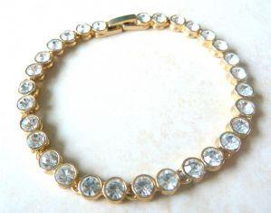 Vintage Rhinestone Studded Tennis Bracelet.