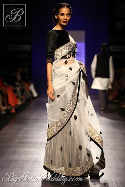 Manish Malhotra white designer saree