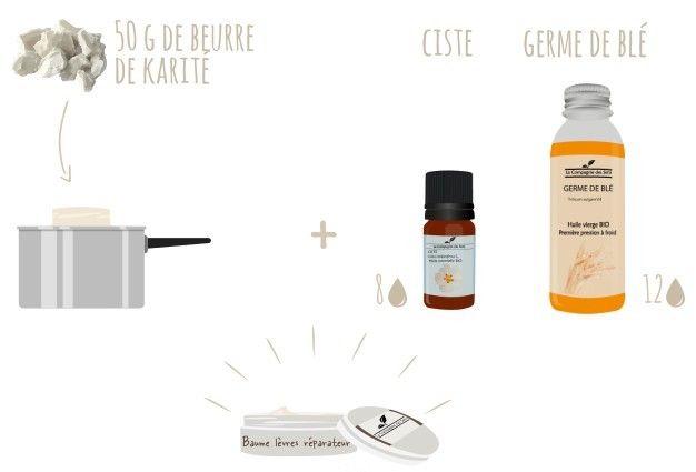 Un baume à lèvres réparateur pour les lèvres gercées aux huiles essentielles et végétales avec 3 ingrédients !   - 50 g de beurre de Karité   - 12 gouttes d'huile végétale de Germe de blé   - 8 gouttes d'huile essentielle de Ciste