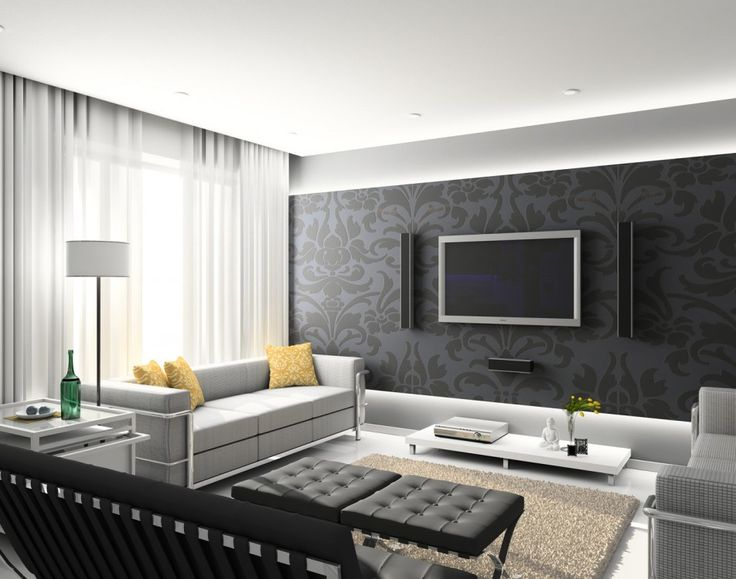 [Living Room] : Minimalist Living Room Design Available With Luxury Sofa Sets With Yellow Cushion Along With Black Pouffe And White Floor Lamp And White White Coffee Table And Bay Window With Transparent Curtain White Laminating Floor With Carpet