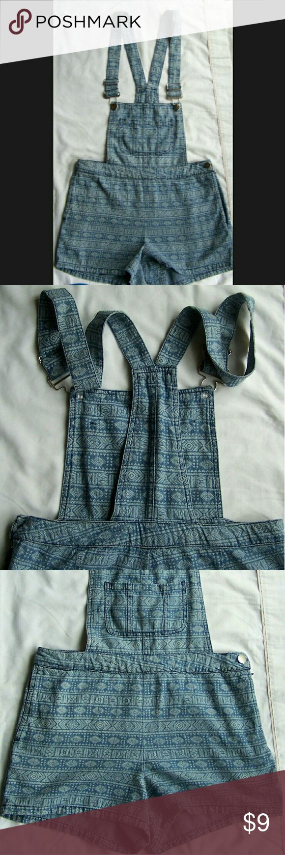 Aztec Print Denim Overall Shorts | Romper Very soft denim with a bit of stretch, lightly faded.  Size medium, roughly a size 2 to 4 in juniors.  Very cute and cozy, great condition.  OFFERS AND BUNDLES ALWAYS WELCOMED!  HAPPY POSHING! Love by Chesley Shorts