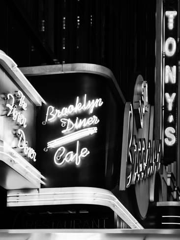 American Brooklyn Diner Cafe at Times Square by Night, Manhattan, NYC, USA Reproduction photo