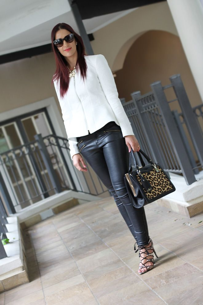www.streetstylecity.blogspot.com Fashion inspired by the people in the street ootd look outfit sexy heels legs woman girl leather pants trousers Black & White Peplum OOTD on StyleScoop