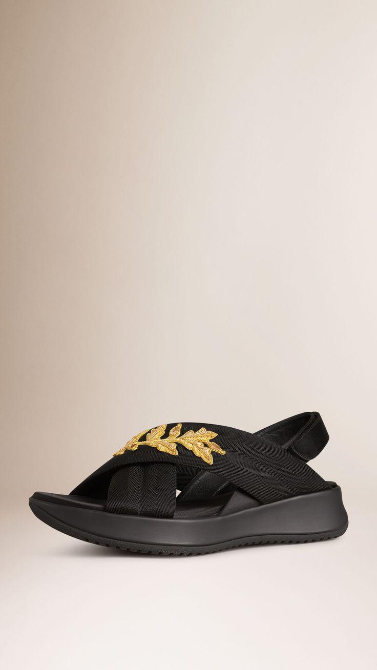 Goldwork-Embellished Sport Sandals Black   Burberry
