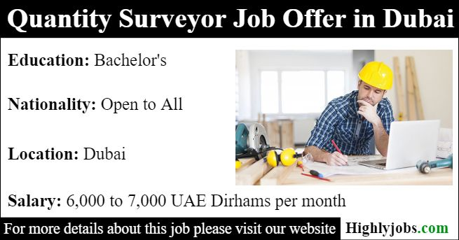 Quantity Surveyor Job Offer In Dubai 2019 Job Offer Job Land