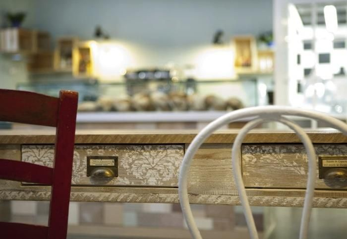 Pave Cafe Bakery Milan - stenciled drawers - great idea for storage chest in office