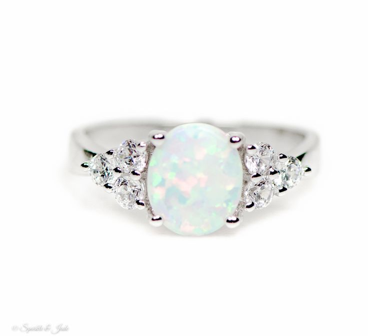 Contemporary 925 Sterling Silver Ladies Ring with Cubic Zirconia/CZ, Cultured Opal
