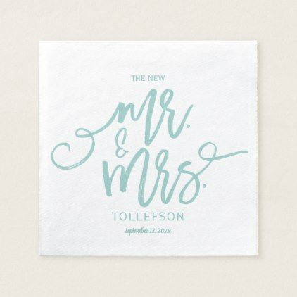Wedding Napkins | Brush Script (Light Turquoise) - home gifts ideas decor special unique custom individual customized individualized