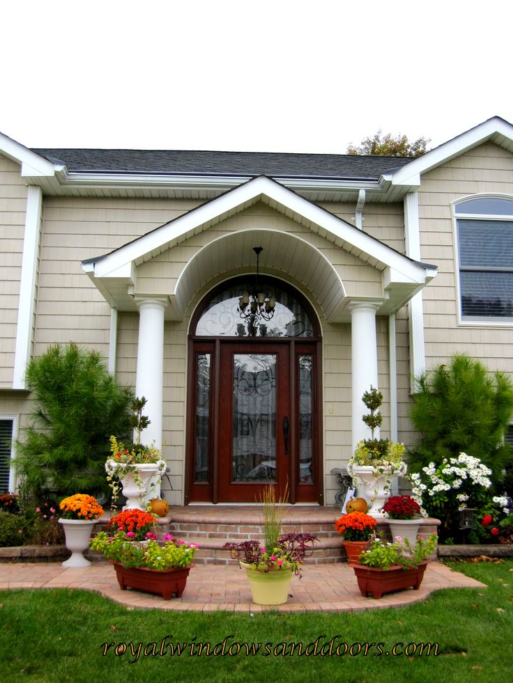 A portico from italian is a porch leading to the for Door portico