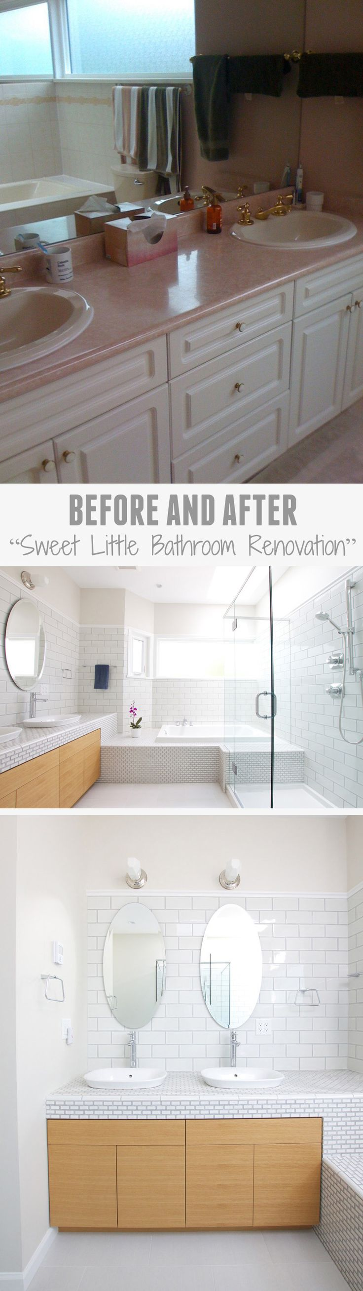 Vancouver architect Marianne Amodio completely transformed a dated pink-ish colored bathroom with gold fixtures, into a bright contemporary bathroom that features white tiles, wood cabinet doors and a glass shower.