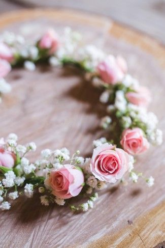 Floral crown for flower girl created with baby's breath and pink roses created by Pam's Posies Florist