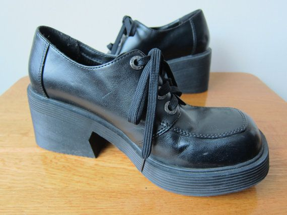 90s Candies Chunky Black Platform Wedge by RockAroundTheShop, $47.98