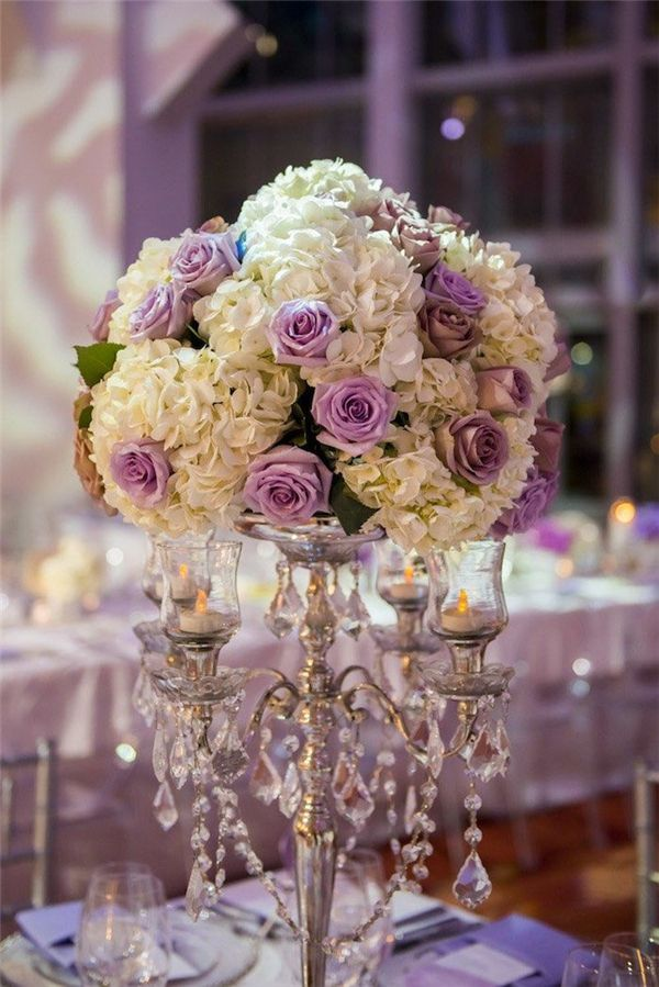 tall white and lilac wedding centerpiece - Deer Pearl Flowers