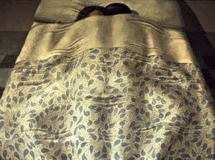 'Couple au lit' (1967) by Italian Hyperrealist painter Domenico Gnoli (1933-1970). Acrylic on canvas, 119 x 160 cm. via Atlante dell'arte italiana