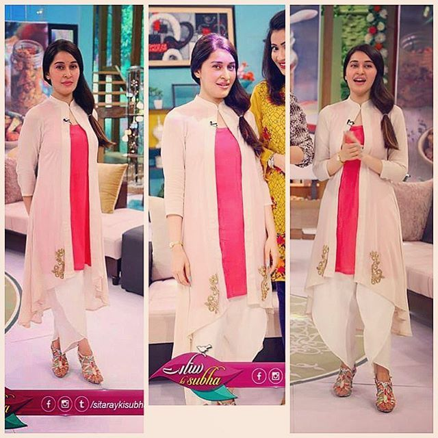 Shaista Lodhi in Off white cap with pink inner shirt and inner pant