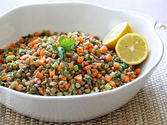 Lentil Salad Recipe Salads with brown lentils, bay leaf, fresh thyme, carrots, diced celery, red bell pepper, diced red onions, parsley, garlic, lemon juice, olive oil, kosher salt, freshly ground black pepper