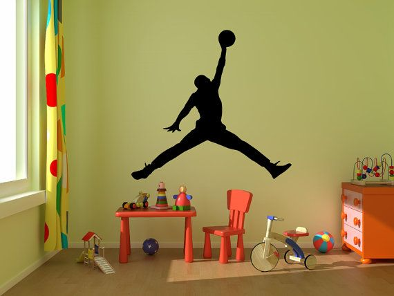 Michael Jordan Wall Decal ,Jumpman Decal,boy Room Decal Silhouette Wall  Decal, Basketball Design Ideas