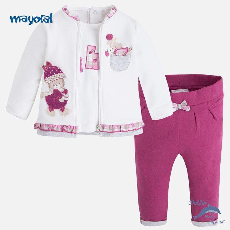 Conjunto de bebe para niña MAYORAL NEWBORN de tres piezas de algodón con bordados