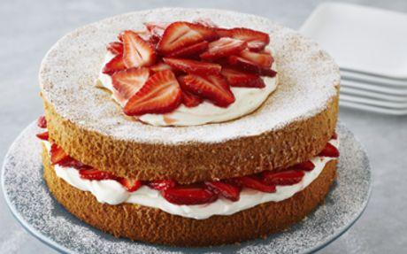 Strawberries and Cream Sponge Cake Recipe by Anna Olson