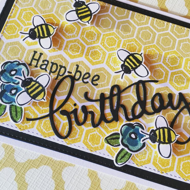 Birthday card using stampin up garden in bloom stamps and mama elephant background stamp and birthday die cut. Hapbee birthday!