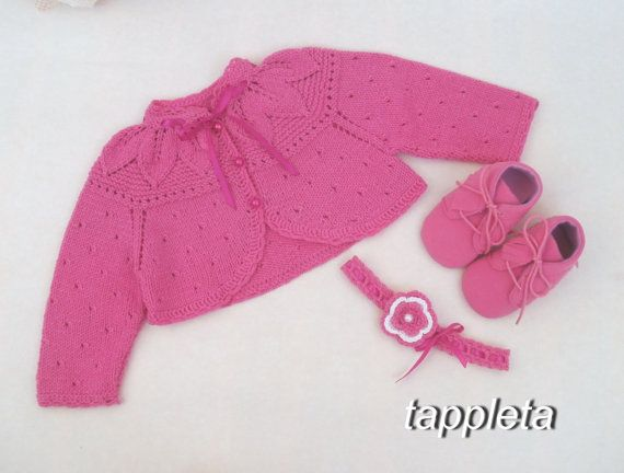 #baby set hand knitted baby #bolero hot #pink #shoes for от tappleta