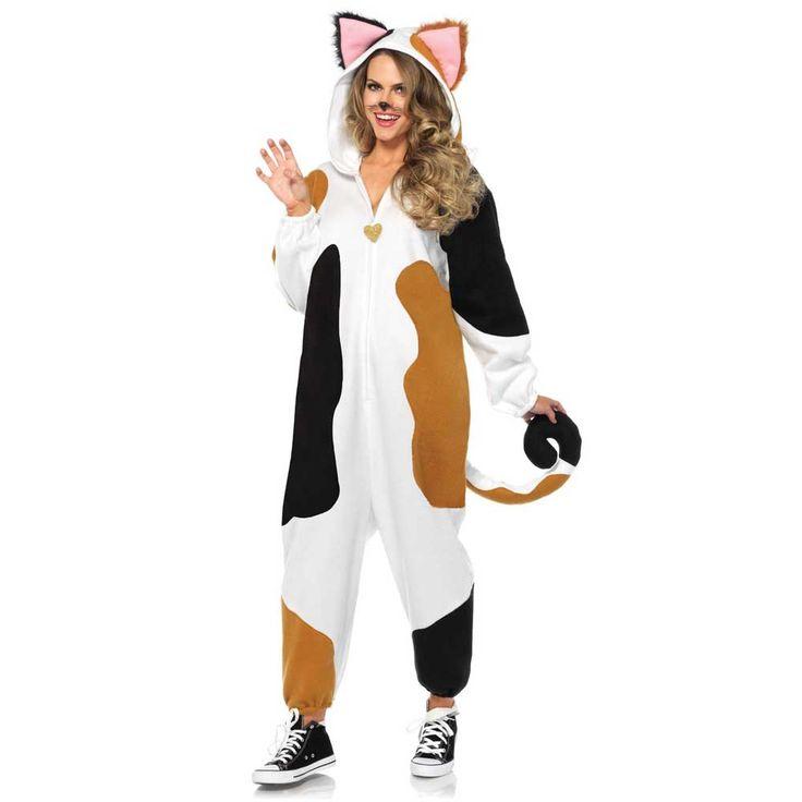 Leg Avenue. Een Cozy Calico Cat Halloween kostuum met bruin/zwarte koeien vlekken en capuchon met leuke oortjes. Er zit een ritssluiting aan de voorkant.