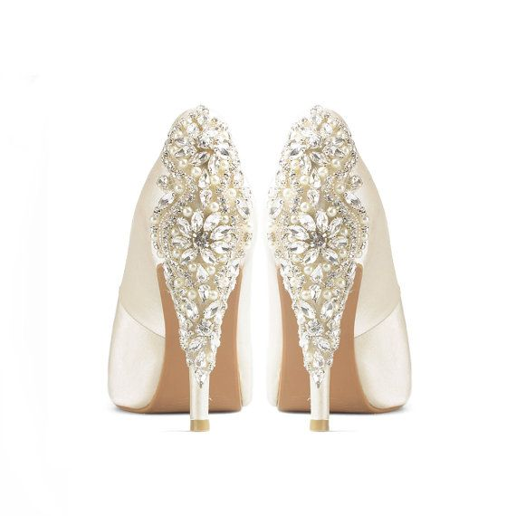 Precious Glitter Ivory Satin Wedding Shoes Ivory by ChristyNgShoes