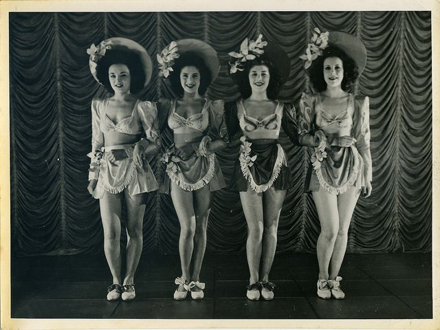 Revudeville no.184: Windmill Girls, Moy Wong, Pat Raphael, Winifred Hodge and Jackie Jennings at the Windmill Theatre during WW2. - Love their skirts!